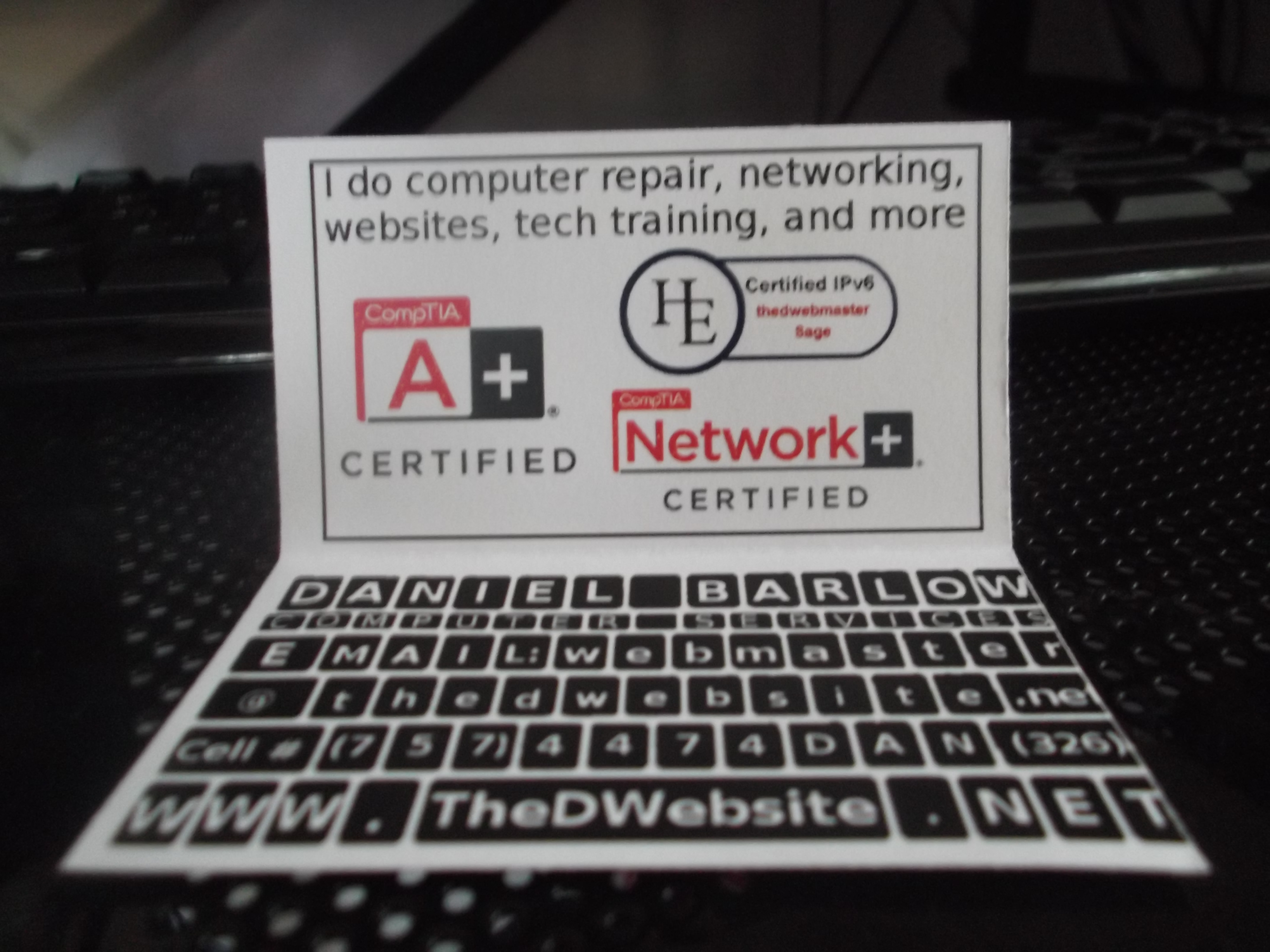 My laptop pc business card
