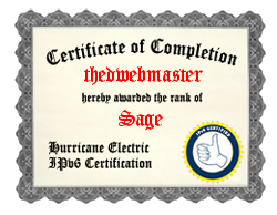 IPv6 Certification Badge for thedwebmaster